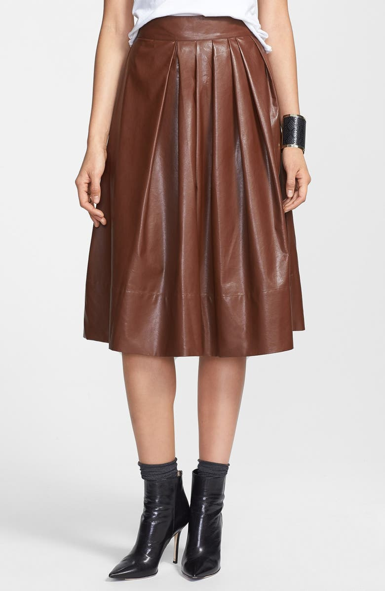 LEITH Pleated Faux Leather Town Skirt, Main, color, COGNAC
