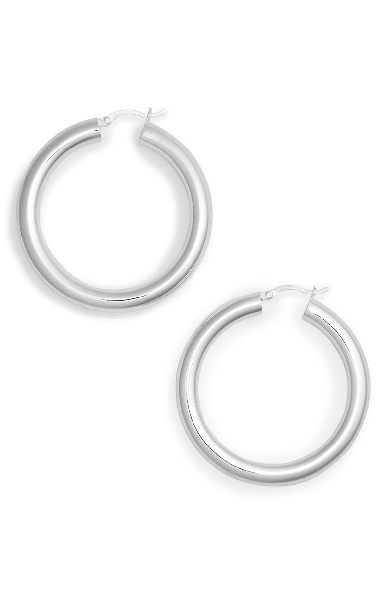 ARGENTO VIVO STERLING SILVER Argento Vivo Medium Hollow Hoop Earrings, Main, color, 040