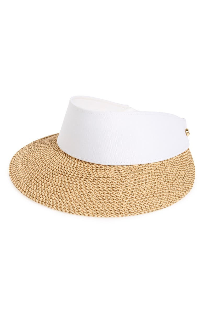ERIC JAVITS 'Squishee<sup>®</sup> Champ' Custom Fit Visor, Main, color, PEANUT/ WHITE