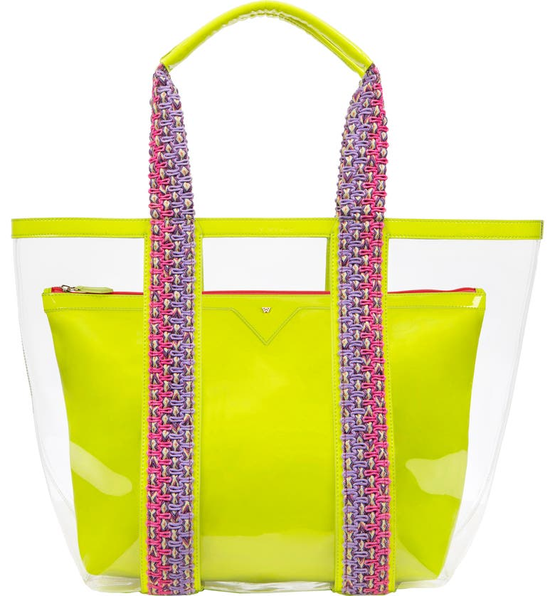 KELLY WYNNE Bring on the Beach Clear Tote, Main, color, NEON YELLOW/ CLEAR