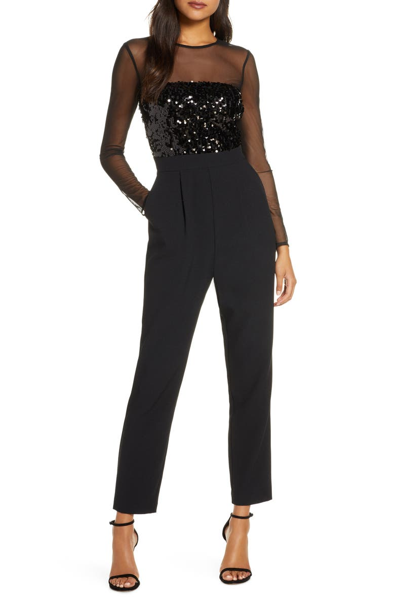VINCE CAMUTO Sequin Bodice Long Sleeve Jumpsuit, Main, color, 001