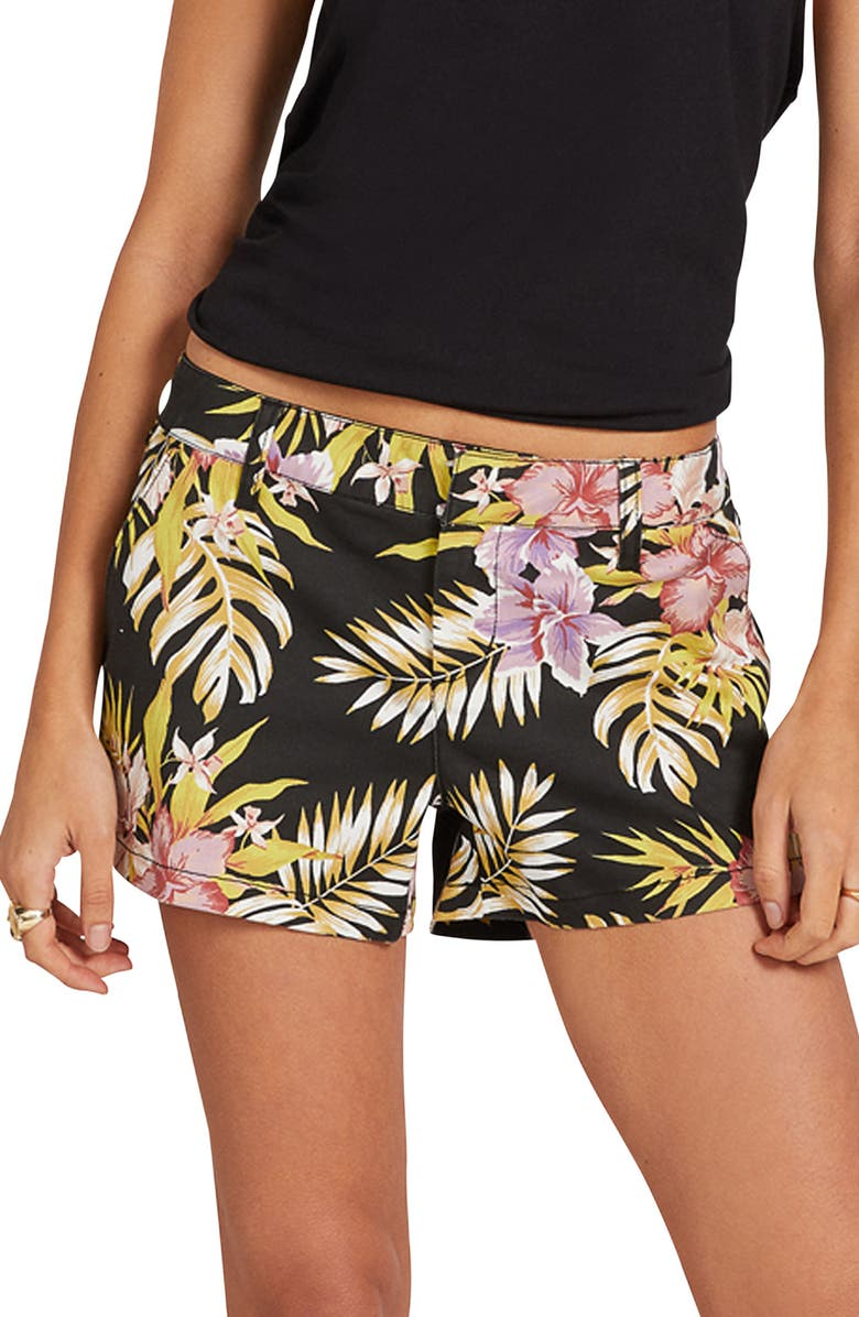 VOLCOM Frochickie Chino Shorts, Main, color, BLACK FLORAL PRINT