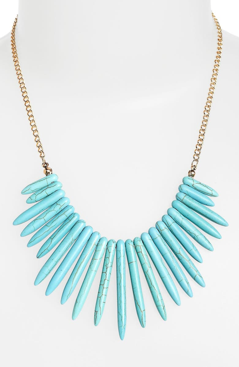 CAROLE Faux Turquoise Spike Statement Necklace, Main, color, 440
