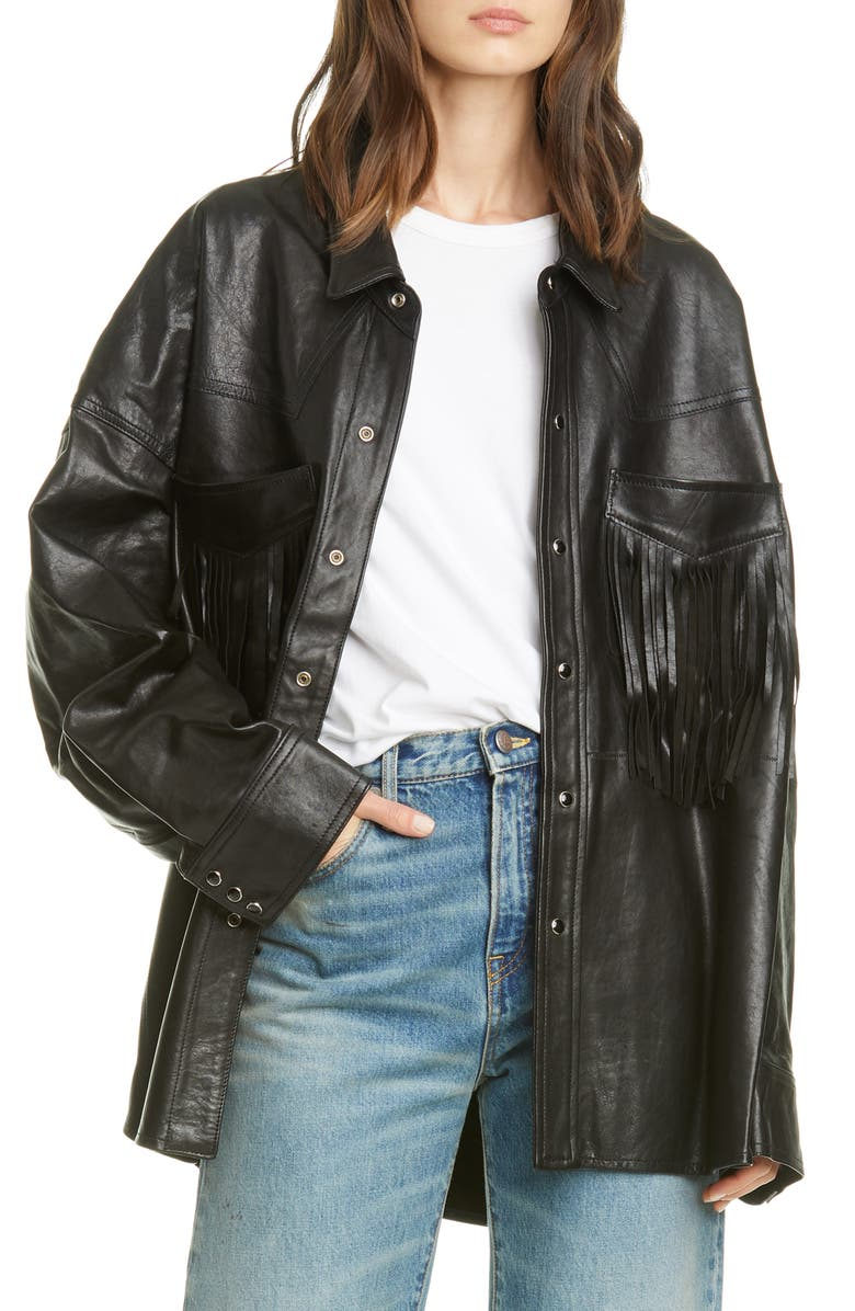 R13 Fringe Pocket Leather Shirt Jacket, Main, color, 001