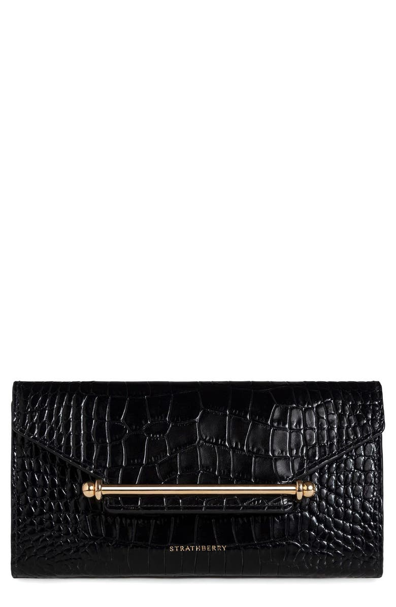 STRATHBERRY Multrees Croc Embossed Leather Wallet on a Chain, Main, color, BLACK