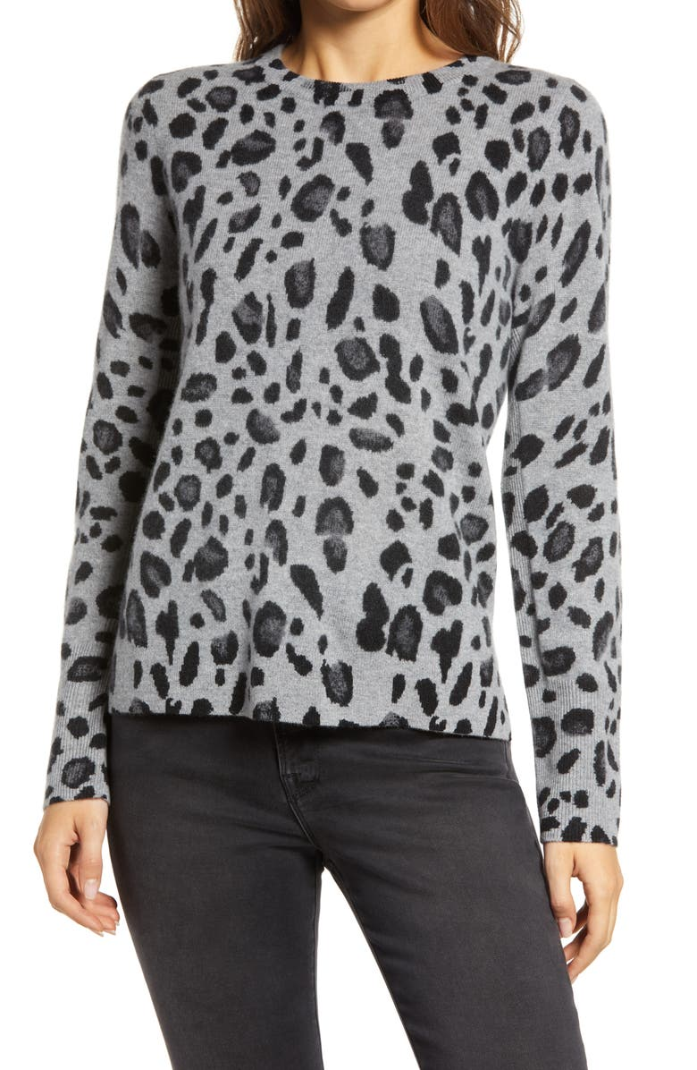HALOGEN<SUP>®</SUP> Leopard Cashmere Sweater, Main, color, GREY HEATHER LEOPARD