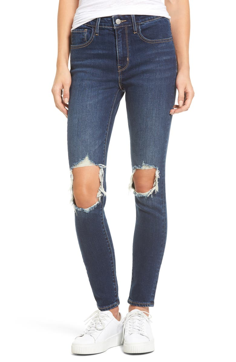 LEVI'S<SUP>®</SUP> 721 Ripped High Waist Skinny Jeans, Main, color, 420