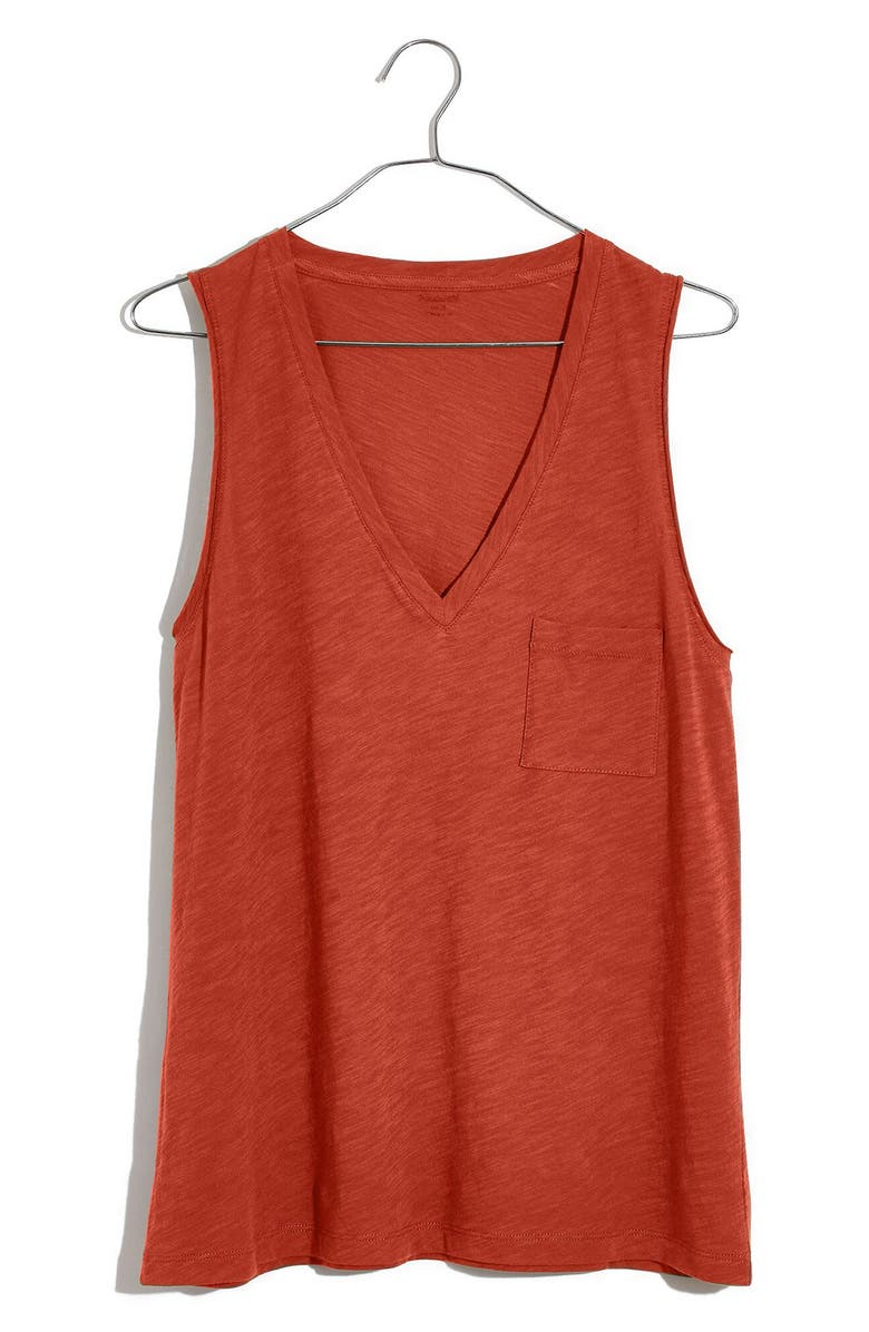 MADEWELL Whisper Cotton V-Neck Tank, Main, color, 803