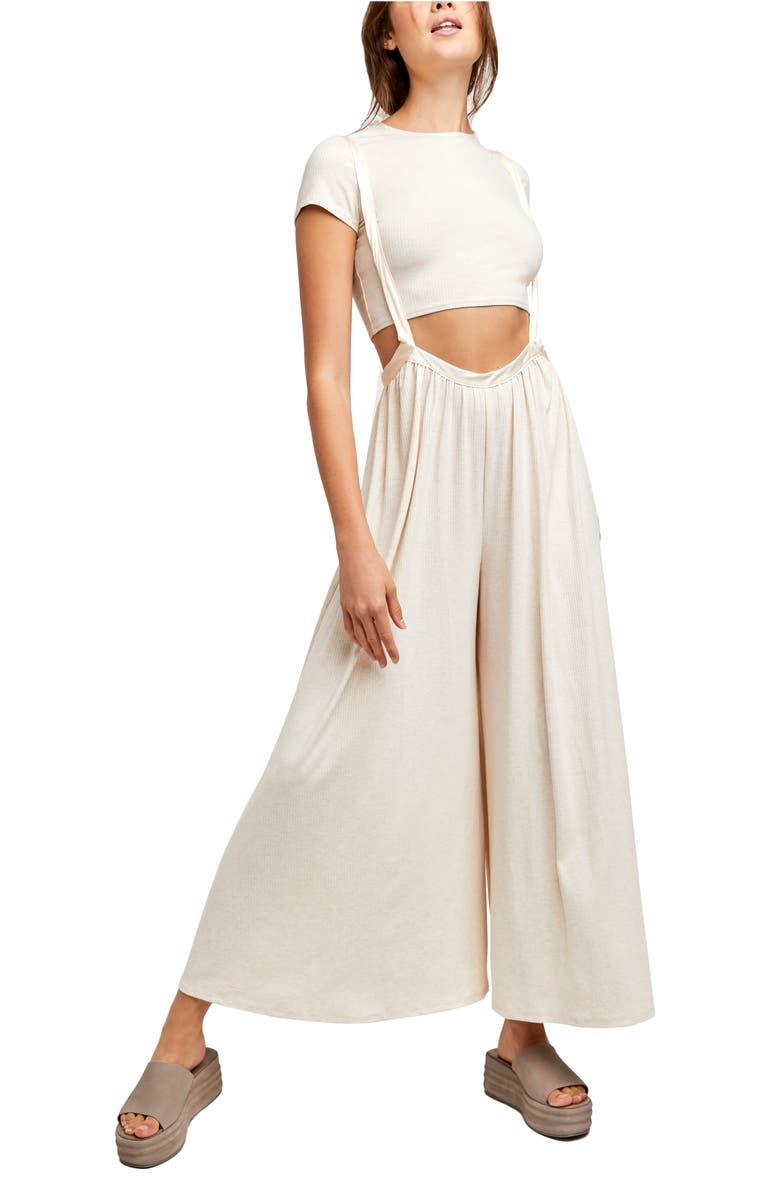 FREE PEOPLE Brookside Rib T-Shirt & Overalls, Main, color, IVORY