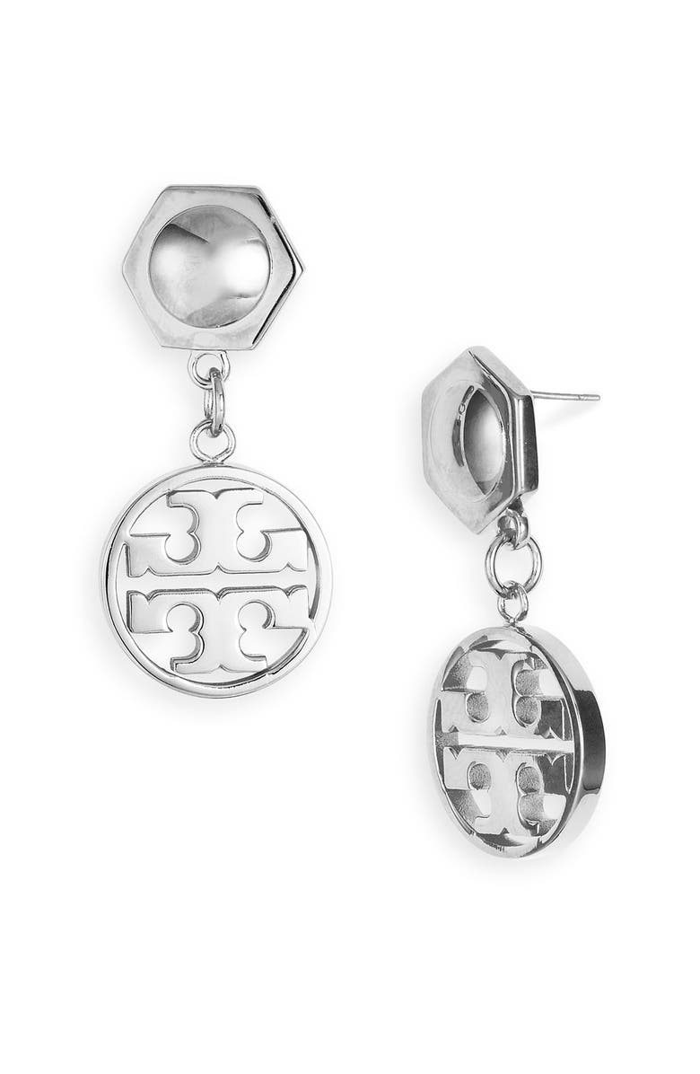 TORY BURCH Circle Logo Drop Earrings, Main, color, 040