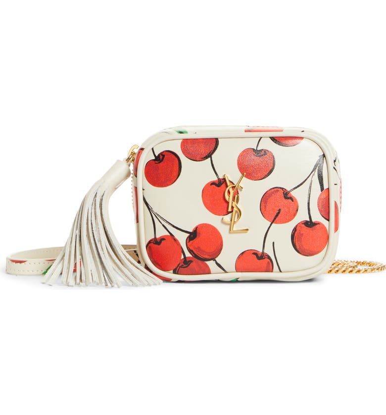 SAINT LAURENT Baby Lou Cherry Print Leather Micro Crossbody Bag, Main, color, CREMA SOFT/RED