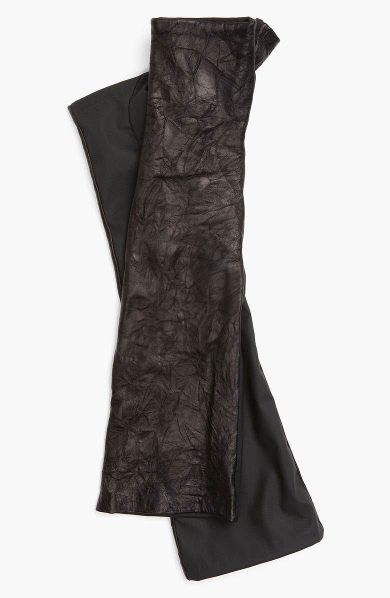 VINCE CAMUTO Washed Leather Fingerless Gloves, Main, color, Black