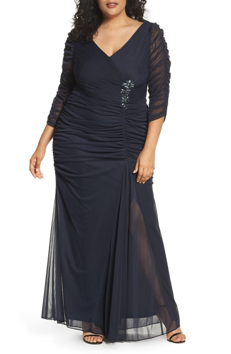ADRIANNA PAPELL Beaded Mesh Gown, Main, color, INK