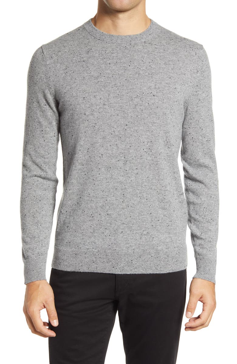 THEORY Donegal Crew Cashmere Sweater, Main, color, PEBBLE HEATHER MULTI