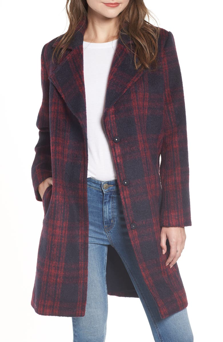 CUPCAKES AND CASHMERE Brushed Plaid Coat, Main, color, 601