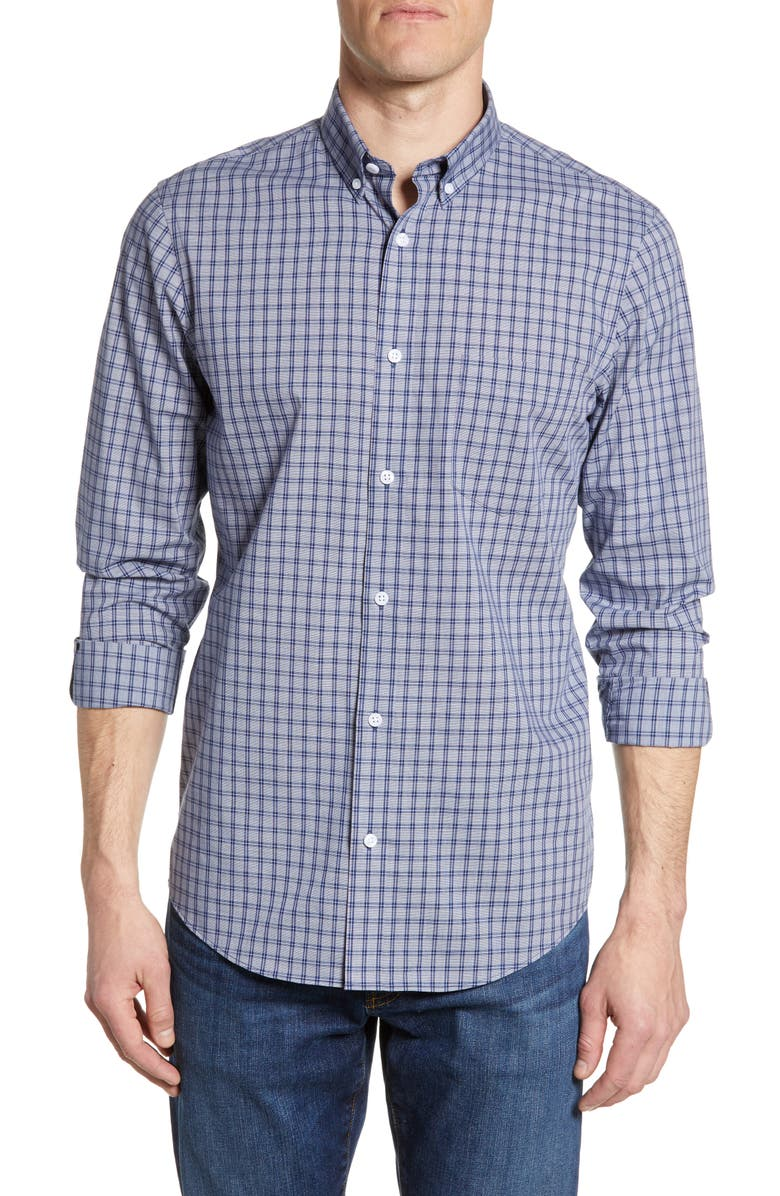 NORDSTROM MEN'S SHOP Regular Fit Plaid Non-Iron Button-Down Shirt, Main, color, 420