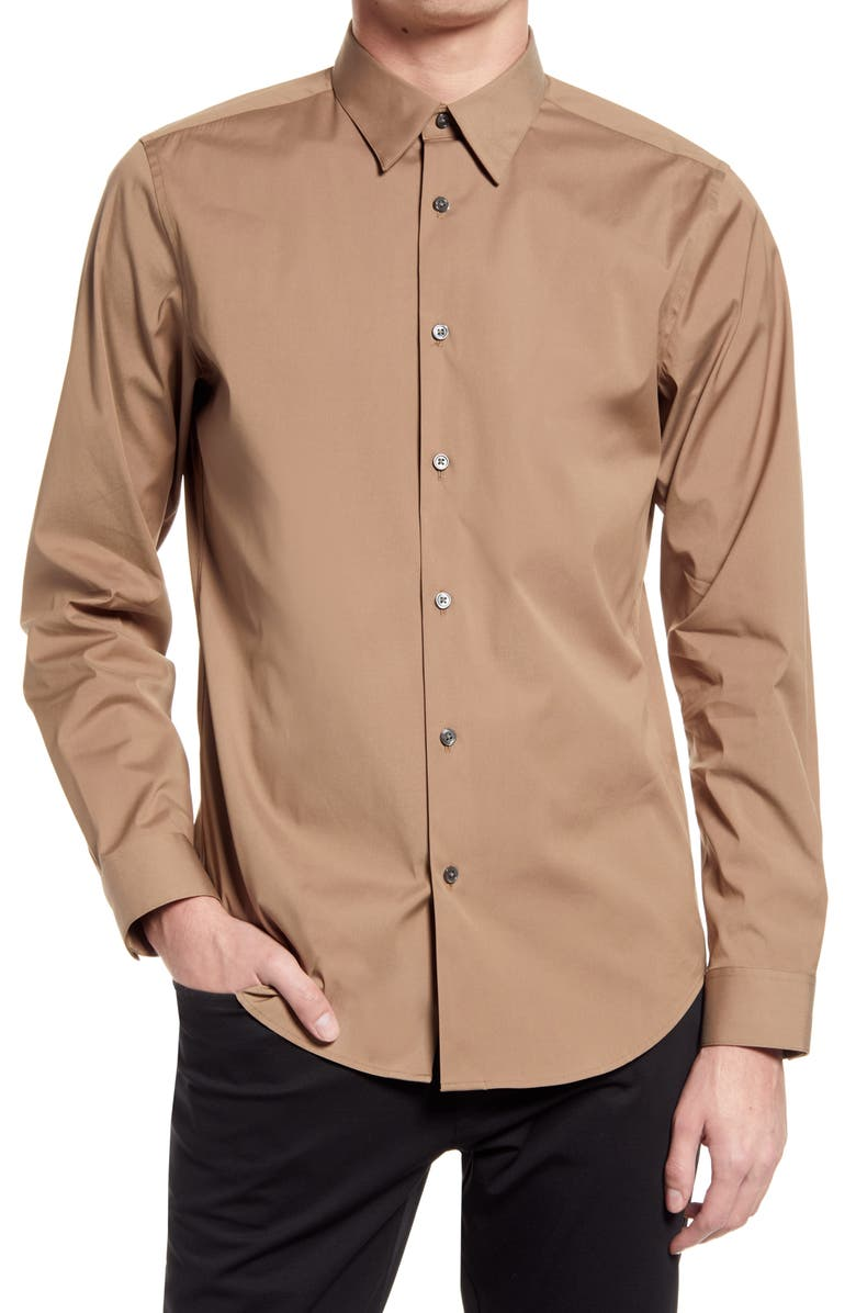 THEORY Sylvain Slim Fit Button-Up Dress Shirt, Main, color, FAWN