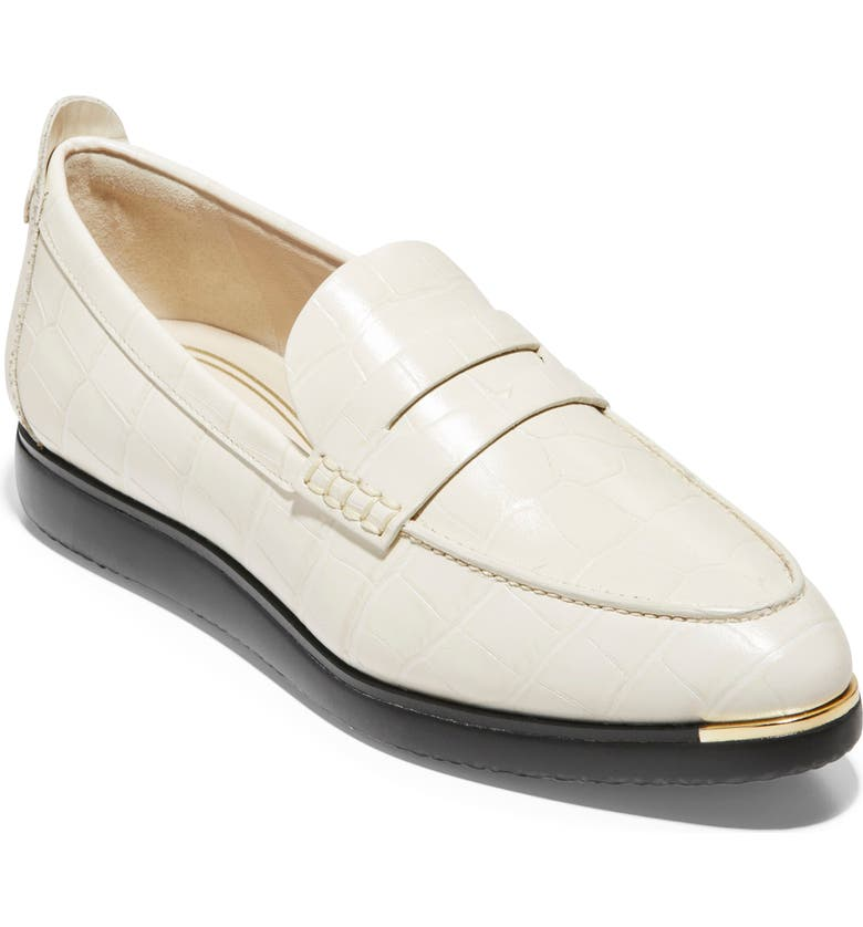 COLE HAAN Grand Ambition Troy Penny Loafer, Main, color, IVORY CROC PRINT LEATHER