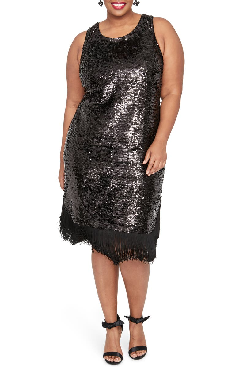 RACHEL RACHEL ROY Lea Sequin Fringe Detail Dress, Main, color, 001