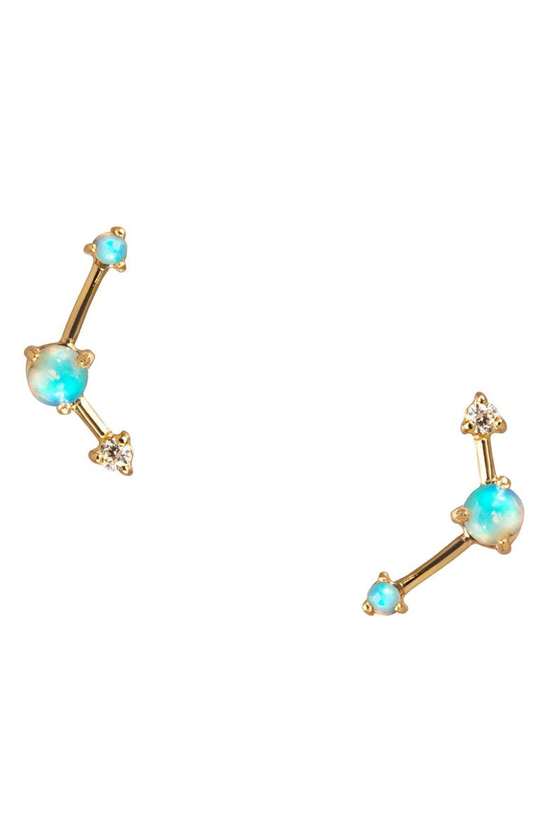 WWAKE Counting Collection Three-Step Opal & Diamond Point Earrings, Main, color, 713