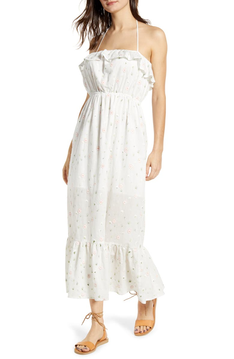 ENGLISH FACTORY Floral Embroidery Cotton Blend Midi Dress, Main, color, 100