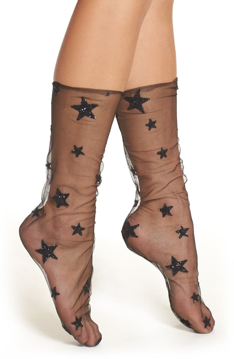 LIRIKA MATOSHI Glittery Star Tulle Socks, Main, color, 001