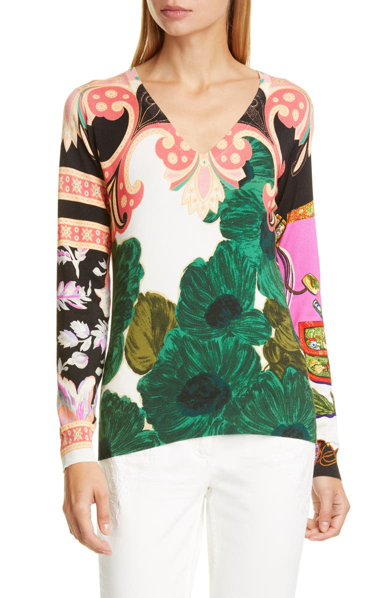 ETRO Floral Print Silk Blend Sweater, Main, color, 300