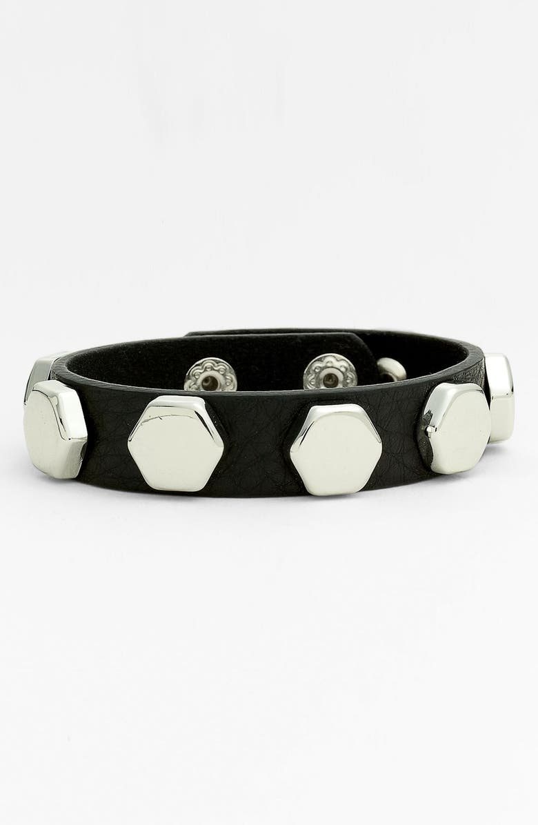 CARA Studded Leather Bracelet, Main, color, 001