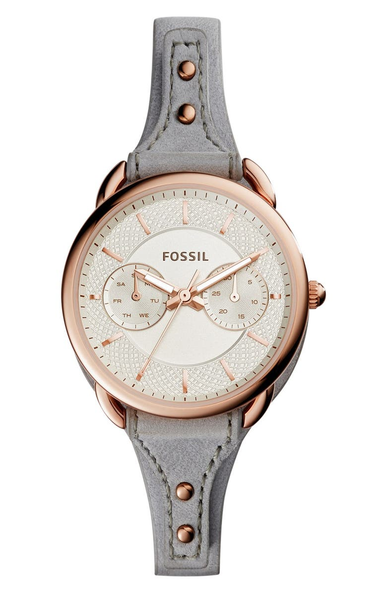 FOSSIL 'Tailor' Multifunction Leather Strap Watch, 35mm, Main, color, GREY/ SILVER