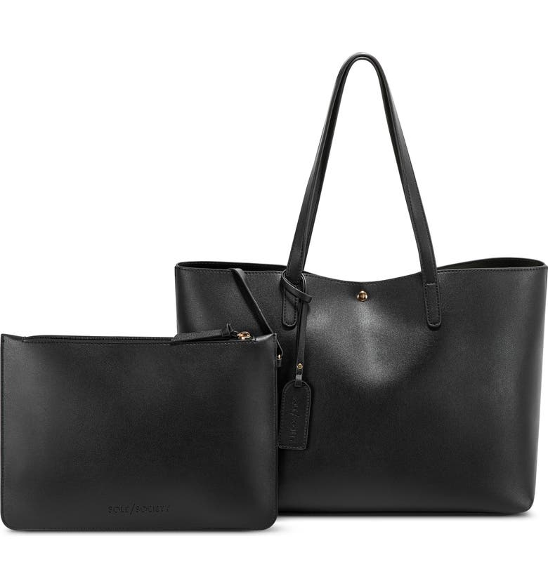 SOLE SOCIETY Zeda Faux Leather Tote, Main, color, 001