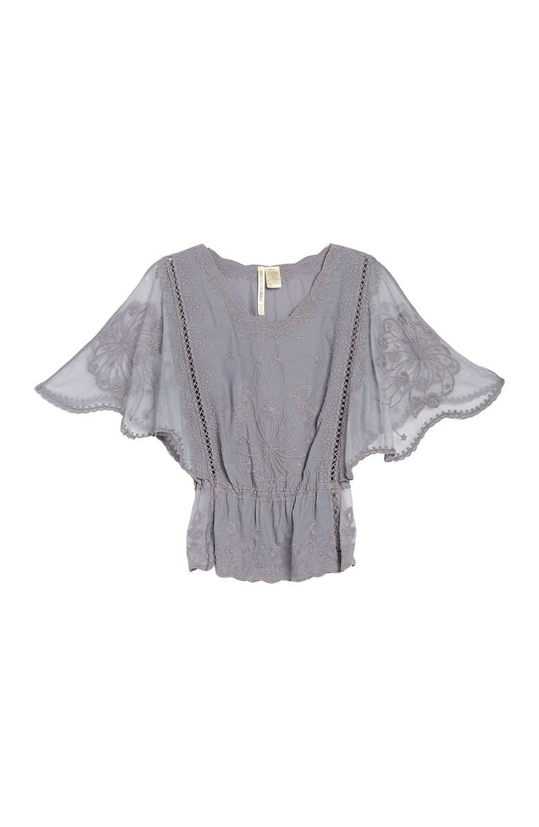 FORGOTTEN GRACE Embroidered Flutter Sleeve Top, Main, color, SILVER