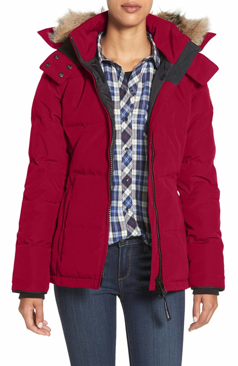 CANADA GOOSE 'Chelsea' Slim Fit Down Parka with Genuine Coyote Fur Trim, Main, color, RED