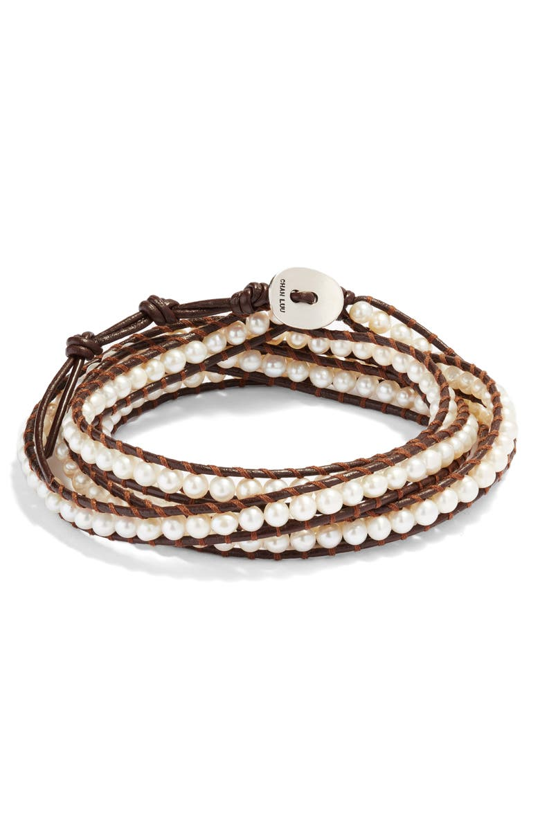 CHAN LUU Beaded Leather Wrap Bracelet, Main, color, WHITE PEARL/ NAT BROWN