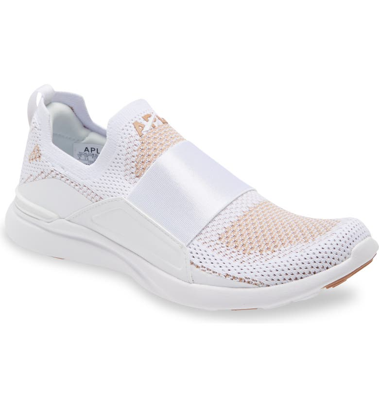 APL TechLoom Bliss Knit Running Shoe, Main, color, WHITE / CARAMEL