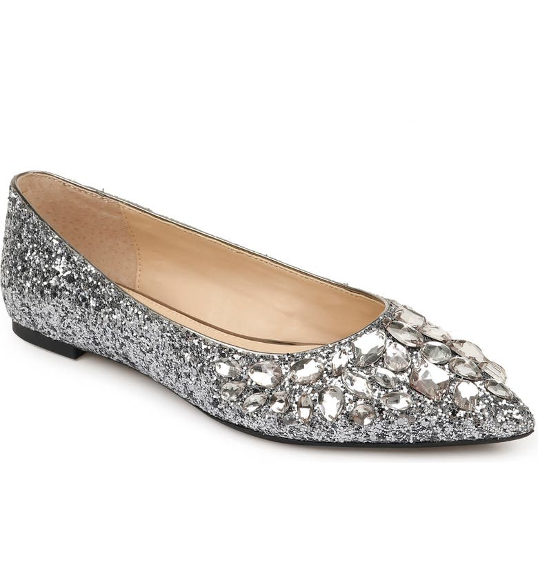 JEWEL BADGLEY MISCHKA Ulanni Embellished Pointed Toe Glitter Flat, Main, color, 040