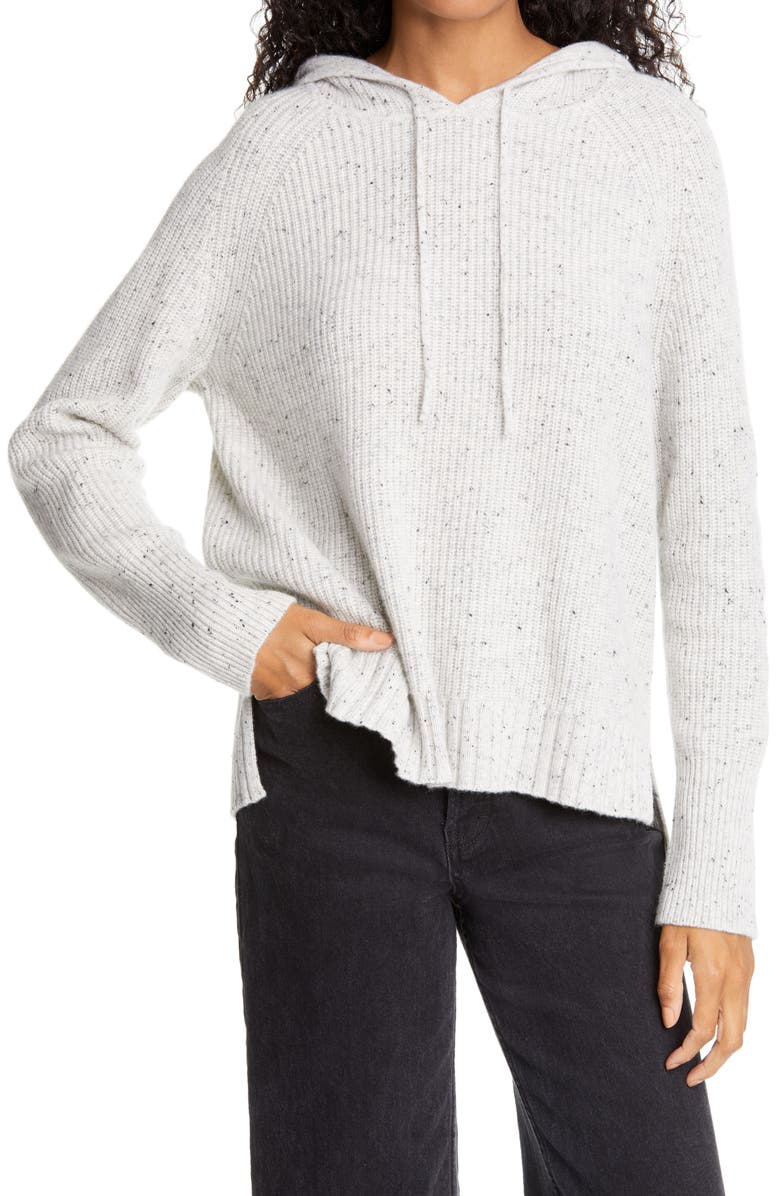 NORDSTROM SIGNATURE Cashmere Hoodie, Main, color, LIGHT GREY HEATHER