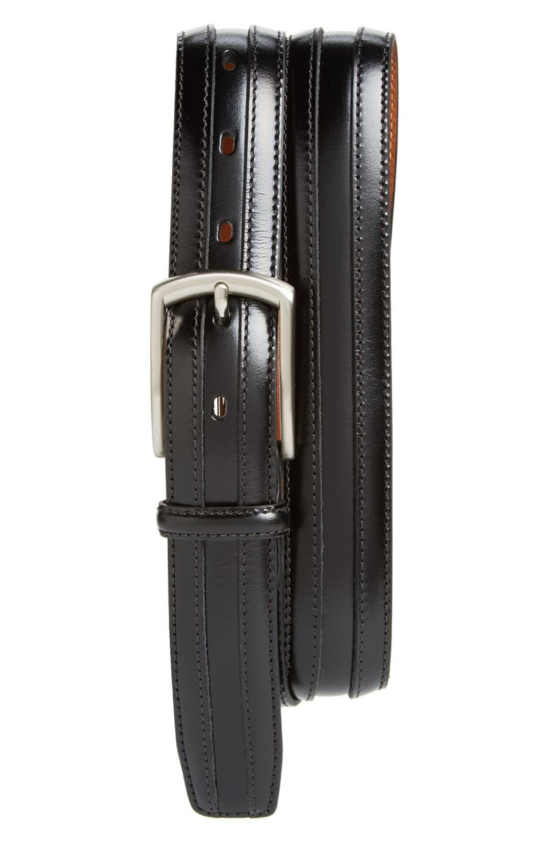 JOHNSTON & MURPHY Calfskin Belt, Main, color, BLACK