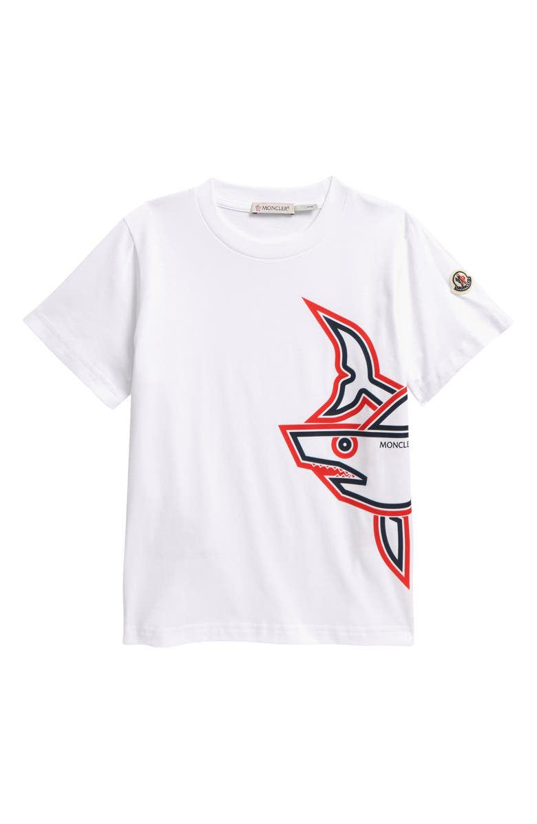 MONCLER Kids' Shark Graphic Tee, Main, color, WHITE