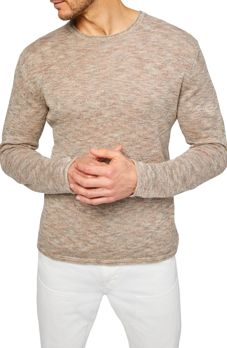 7 FOR ALL MANKIND<SUP>®</SUP> 7 For All Mankind Linen Blend Roll Edge Sweater, Main, color, LIGHT TAN/ TAUPE