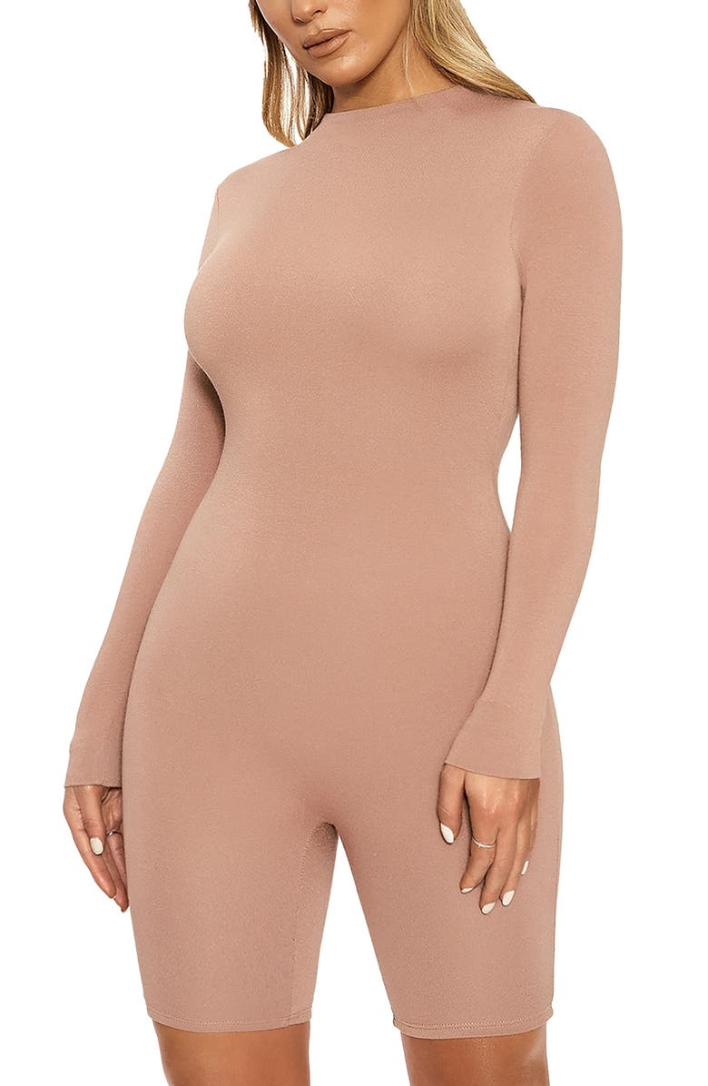 NAKED WARDROBE The NW All Body Long Sleeve Romper, Main, color, TAN