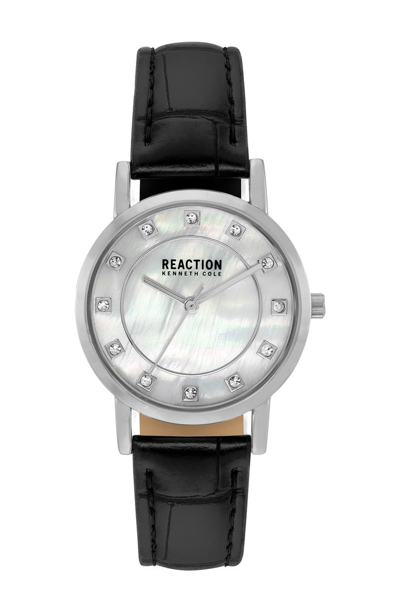 KENNETH COLE REACTION Women's Reaction 3 Hands Mother of Pearl Light Dial Synthetic Leather Watch, 32.5mm, Main, color, BLACK