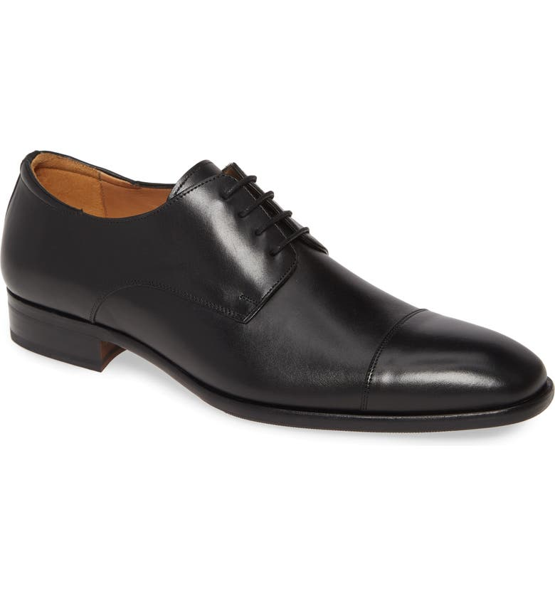MEZLAN Republic Cap Toe Derby, Main, color, BLACK LEATHER