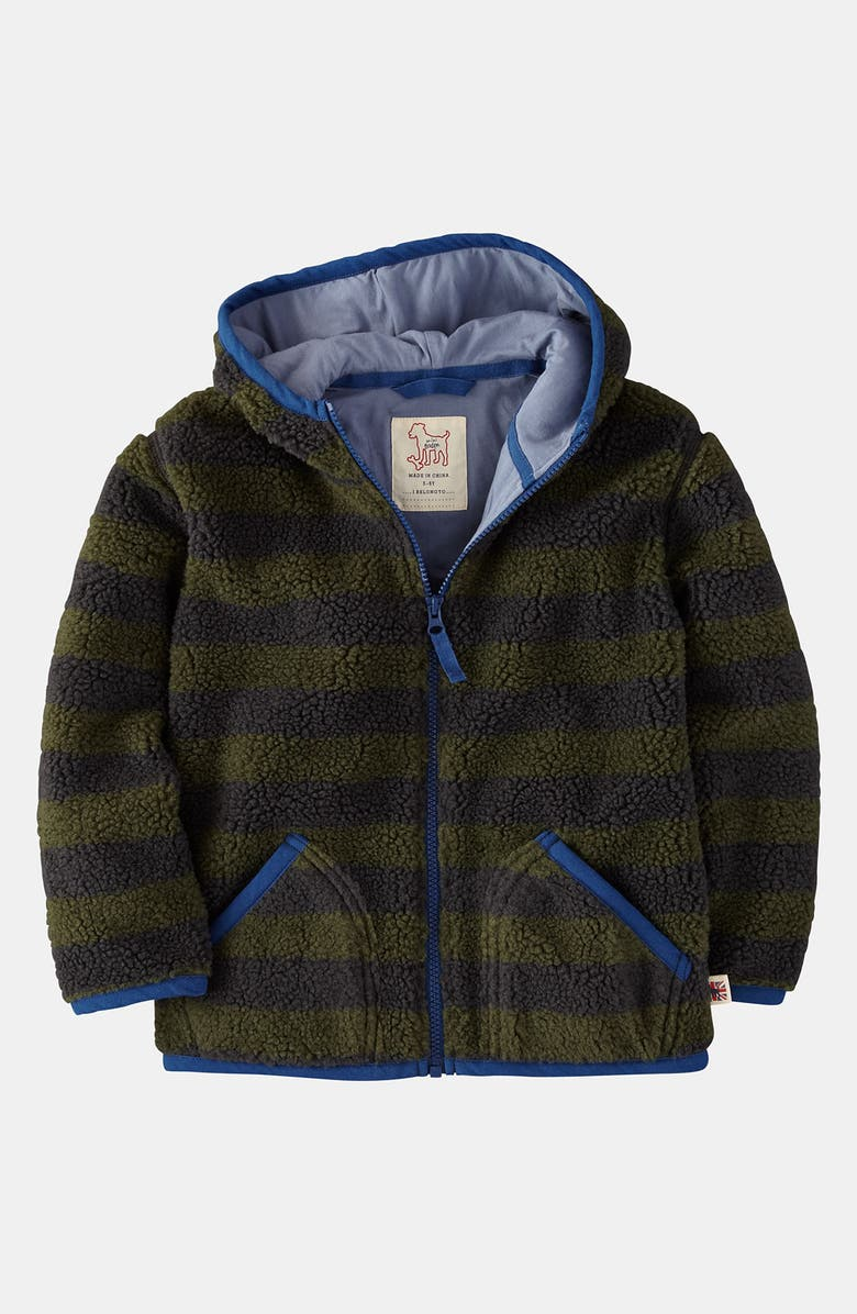 MINI BODEN Hoodie, Main, color, CHARCOAL/ MOSS STRIPE