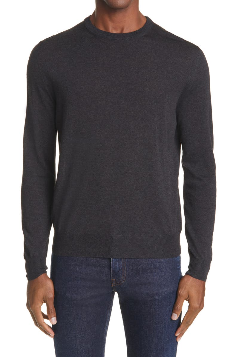 CANALI Solid Wool Crewneck Sweater, Main, color, CHARCOAL