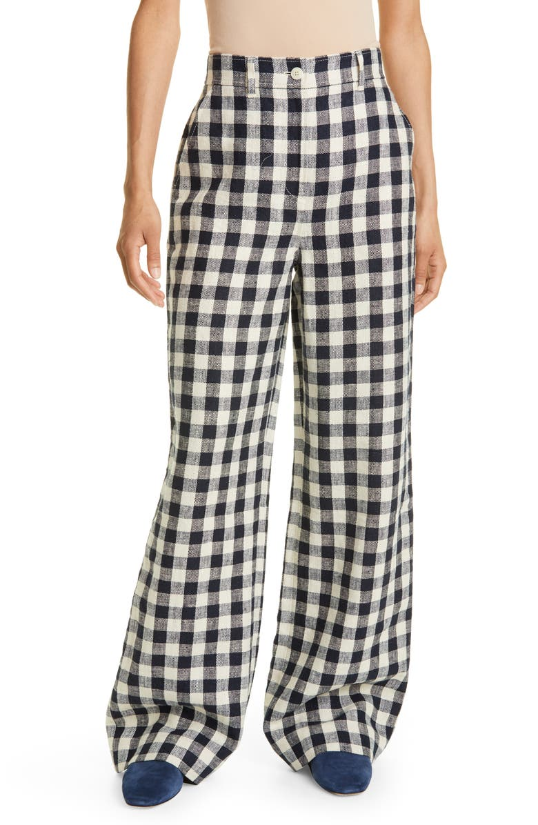TORY BURCH Gingham Linen Pants, Main, color, TORY NAVY/ NATURAL IVORY