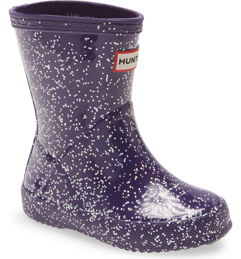 HUNTER First Classic Giant Glitter Waterproof Rain Boot, Main, color, CAVENDISH BLUE