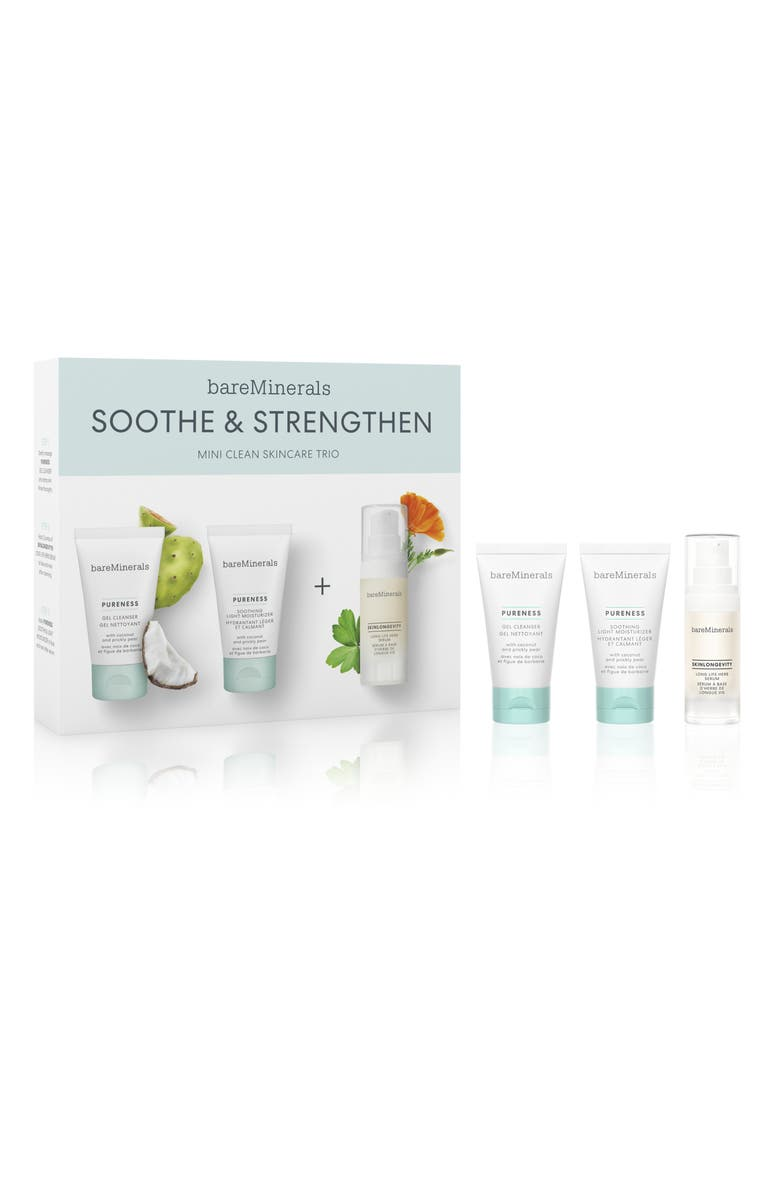 BAREMINERALS<SUP>®</SUP> Soothe & Strengthen Travel Size Skin Care Set, Main, color, NO COLOR