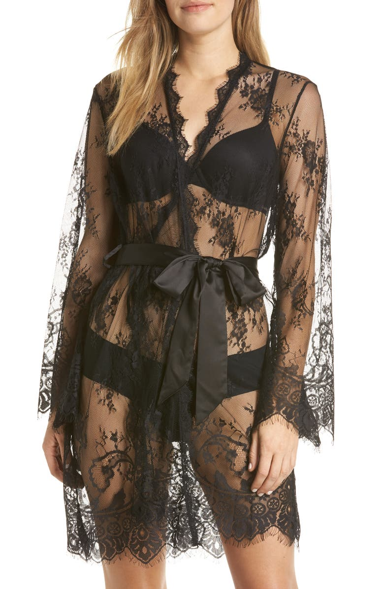 ANN SUMMERS Saria Sheer Lace Robe, Main, color, 001
