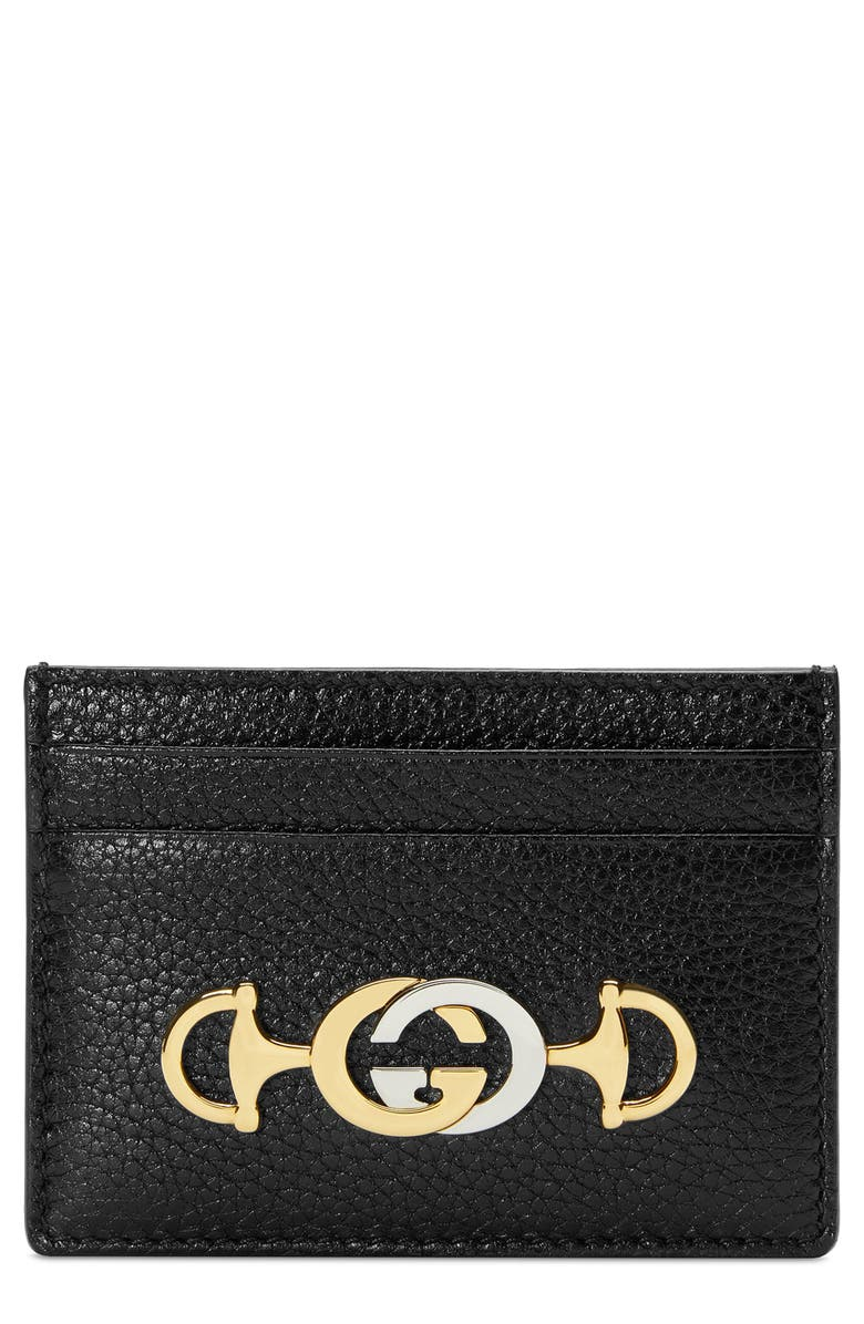GUCCI 463 Leather Card Case, Main, color, 001