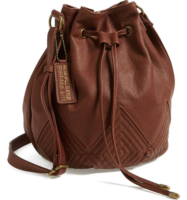 KENDALL & KYLIE KENDALL + KYLIE Madden Girl Quilted Faux Leather Bucket Bag, Main, color, 200